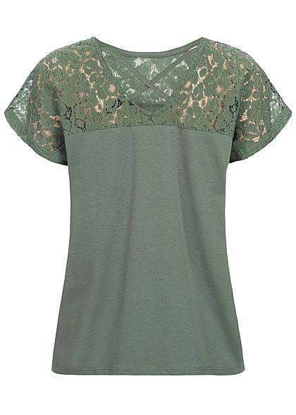 Vero Moda Damen Wide Lace Shirt laurel wreath olive grün