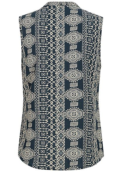 JDY by ONLY Damen Blouse Top Abstracted Print sky captain blau beige