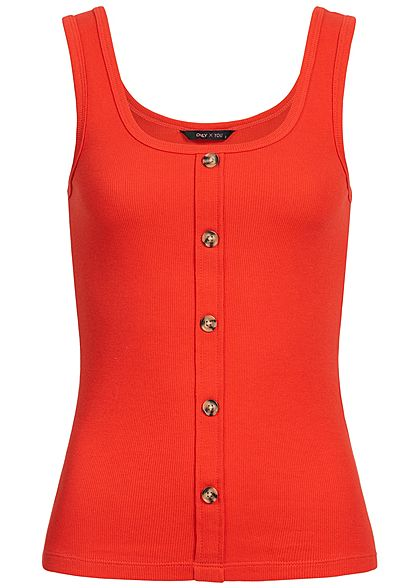 ONLY Damen Rib Tank Top Buttons Front flame rot