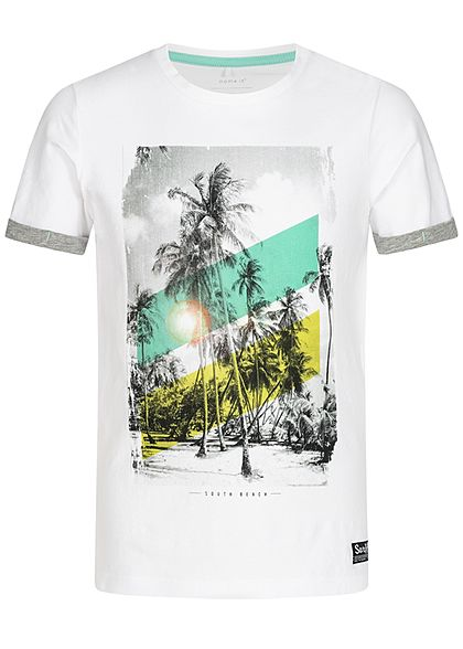 Name It Kids Jungen T-Shirt South Beach Print bright weiss multicolor