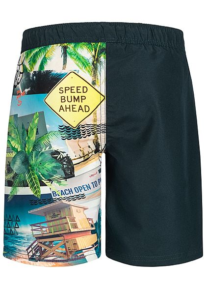 Name It Kids Jungen Long Swim Shorts South Beach Print Zip Pocket dark sapphiere blau