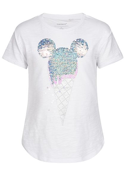 Name It Kids Mädchen T-Shirt Minnie Sequins Ice Cream bright weiss silber