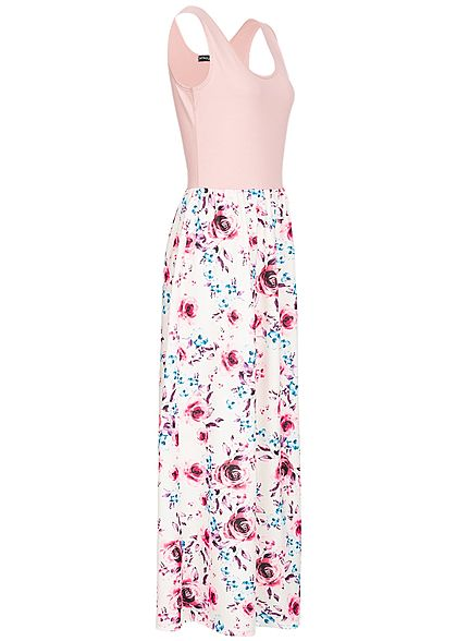 Styleboom Fashion Damen 2-Tone Maxi Dress Flower Print rosa weiss