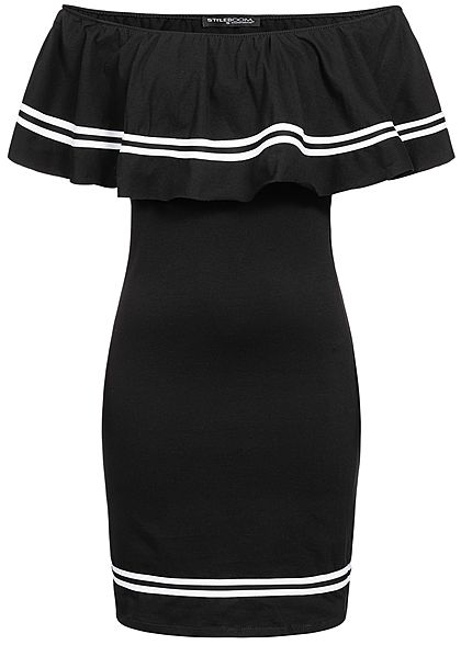 Styleboom Fashion Damen Off Shoulder Stripe Dress schwarz