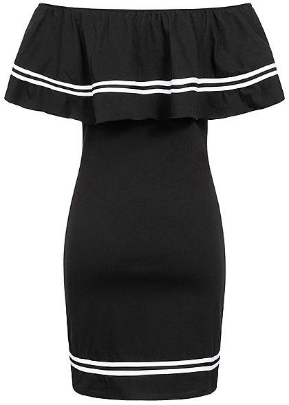Styleboom Fashion Damen Off Shoulder Stripe Dress schwarz