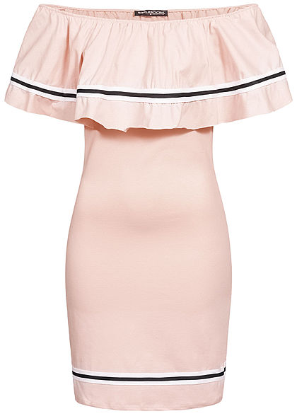 Styleboom Fashion Damen Off Shoulder Stripe Dress rosa