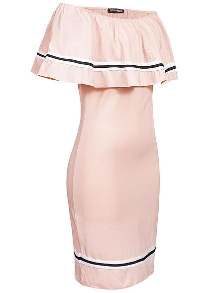 Styleboom Fashion Damen Off Shoulder Stripe Dress rosa
