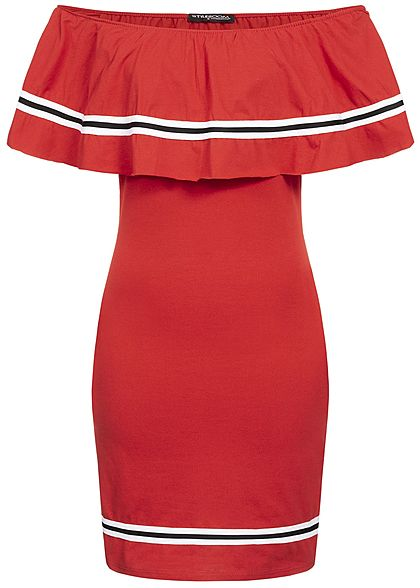 Styleboom Fashion Damen Off Shoulder Stripe Dress rot