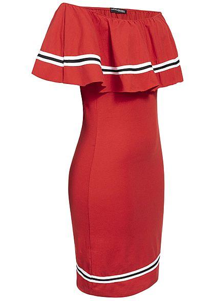 Styleboom Fashion Damen Off Shoulder Stripe Dress rot