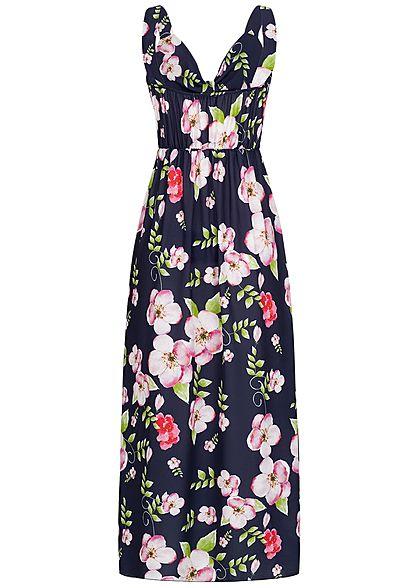 Styleboom Fashion Damen Maxi Knot Dress Flower Print navy blau rosa grün