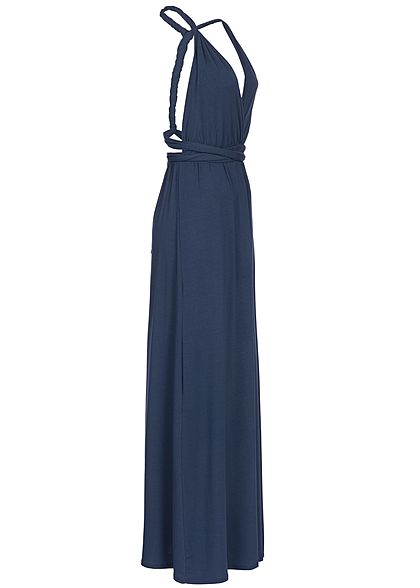 Styleboom Fashion Damen Solid Neckholder Maxi Dress navy blau