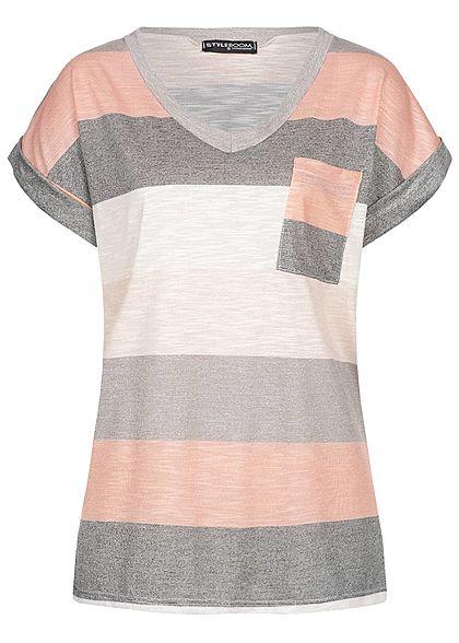 778d2243170389 Styleboom Fashion Damen Striped T-Shirt Breast Pocket multicolor -  77onlineshop