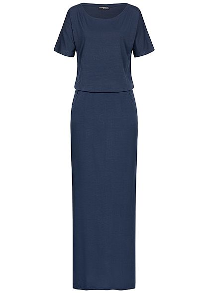 Styleboom Fashion Damen Solid T-Shirt Maxi Dress 2-Pockets navy blau