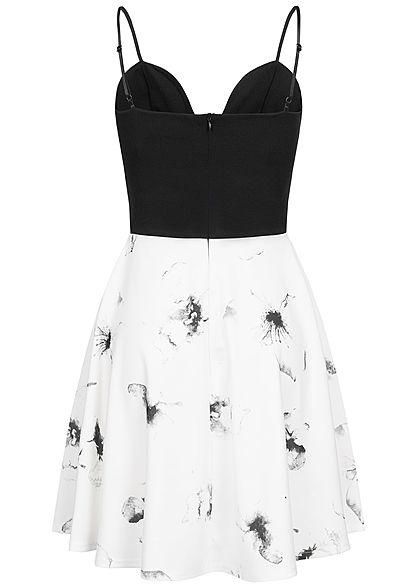 Styleboom Fashion Damen 2-Tone Strap Dress Flower Print schwarz weiss