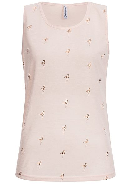 Seventyseven Lifestyle Damen Top Flamingo Print rosa gold