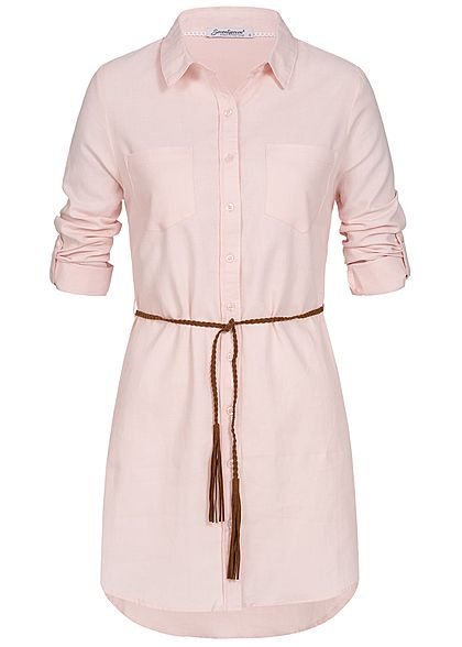 Seventyseven Lifestyle Damen Longform Turn-Up Bluse inkl. Gürtel rosa