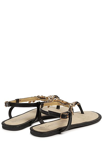 Seventyseven Lifestyle Damen Diamond Toe Post Sandals schwarz
