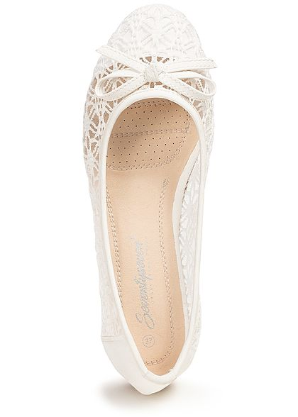 Seventyseven Lifestyle Damen Lace Ballet Flats Shoes weiss