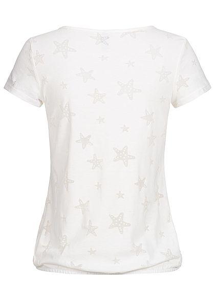 Seventyseven Lifestyle Damen T-Shirt Mesh Stars off weiss