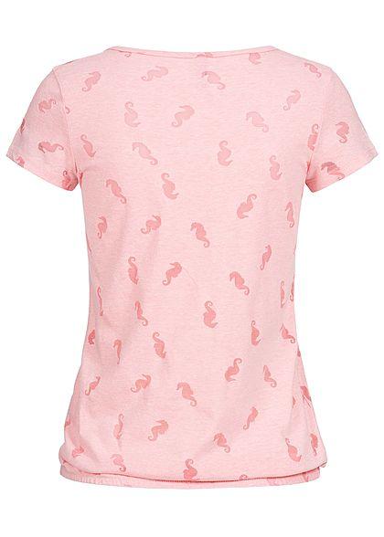 Seventyseven Lifestyle Damen T-Shirt Mesh Seahorses rosa