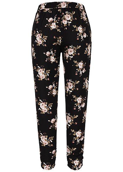 Seventyseven Lifestyle Damen Trousers Floral Print 2-Pockets schwarz rosa