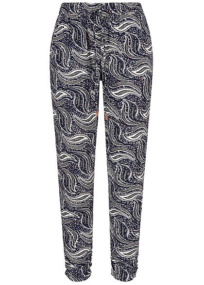 Seventyseven Lifestyle Damen Trousers Paisley Print 2-Pockets navy blau weiss