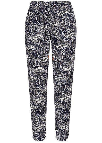 5b179218881ecb Seventyseven Lifestyle Damen Trousers Paisley Print 2-Pockets navy blau  weiss - 77onlineshop