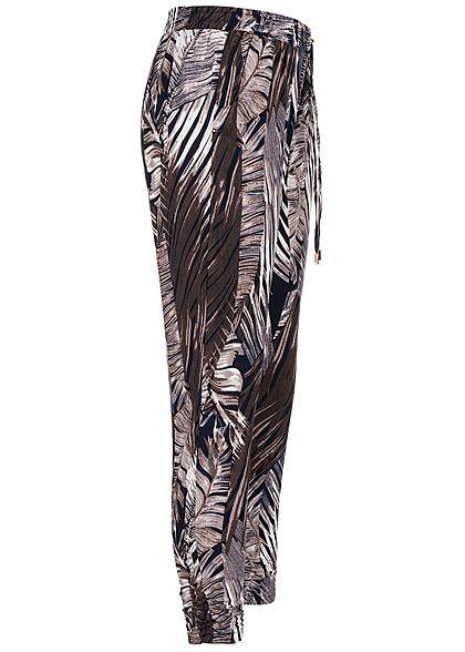 Seventyseven Lifestyle Damen Trousers Floral Print 2-Pockets navy blau lila