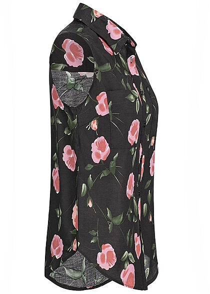 Seventyseven Lifestyle Damen Blouse Top Floral Print schwarz