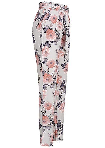Hailys Damen Paperbag Sommer Hose 2-Pockets Blumen Muster Bindegürtel hell grau rosa