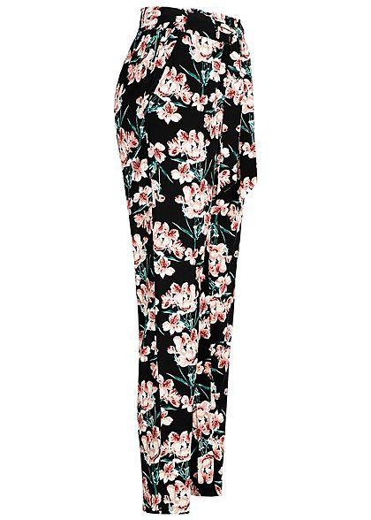 Hailys Damen Paperbag Sommerhose 2-Pockets Floraler Print inkl. Gürtel schwarz