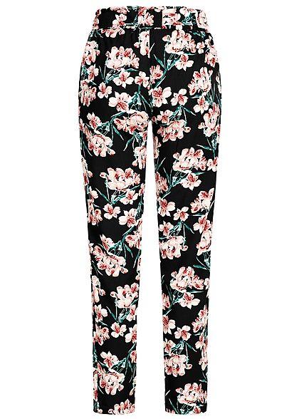 Seventyseven Lifestyle Damen Paper-Bag Trousers Floral Print schwarz rosa