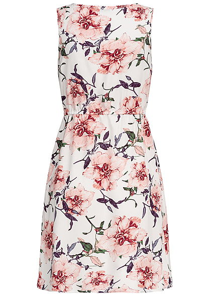 Seventyseven Lifestyle Damen Mini Dress Buttons Front Flower Print off weiss rosa