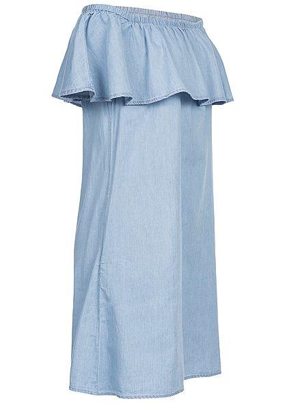 Seventyseven Lifestyle Damen Volant Off-Shoulder Denim Dress 2-Pockets blau