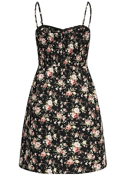 Seventyseven Lifestyle Damen Mini Dress Flower Print schwarz rosa weiss