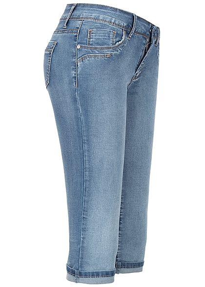 Seventyseven Lifestyle Damen Capri Jeans Shorts 5-Pockets medium blau denim