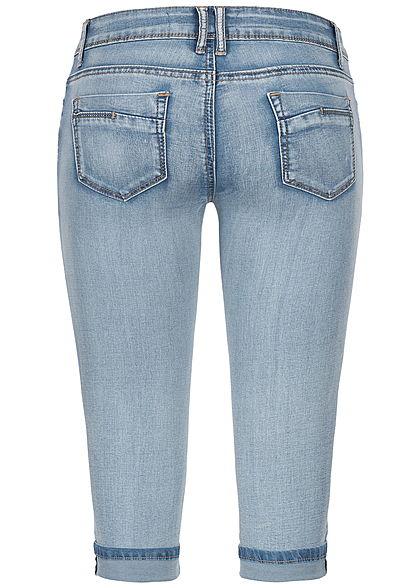 Seventyseven Lifestyle Damen Capri Jeans Shorts 5-Pockets hell blau denim