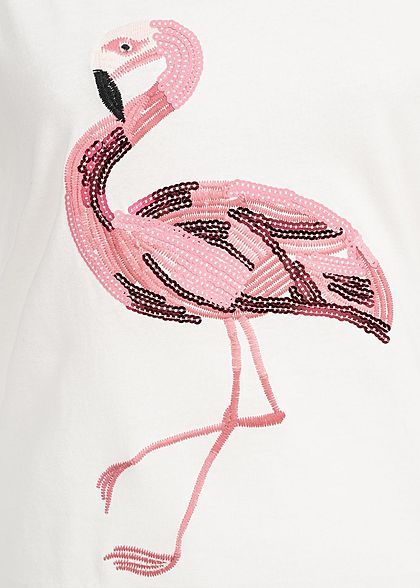 Hailys Damen T-Shirt Flamingo Stickerei Pailletten off weiss