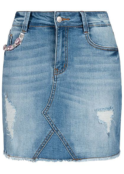 Seventyseven Lifestyle Damen Diamonds Jeans Skirt 5-Pockets medium blau denim