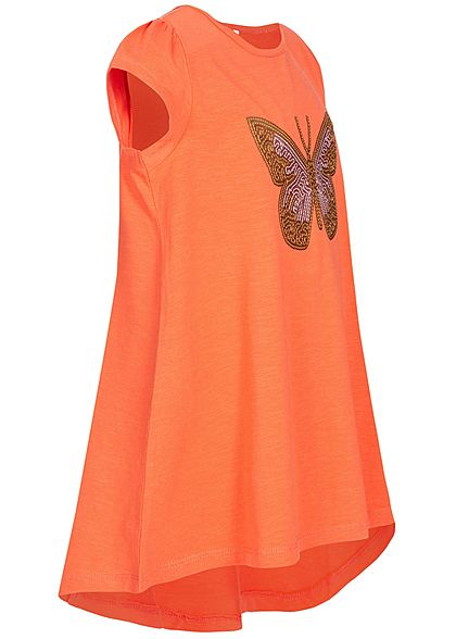 Name It Kids Mädchen Tunic T-Shirt Butterfly Sequins emberglow orange