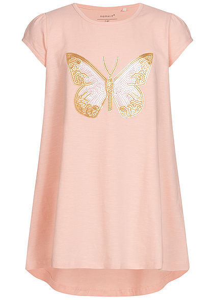 Name It Kids Mädchen Tunic T-Shirt Butterfly Sequins strawberry cream rosa