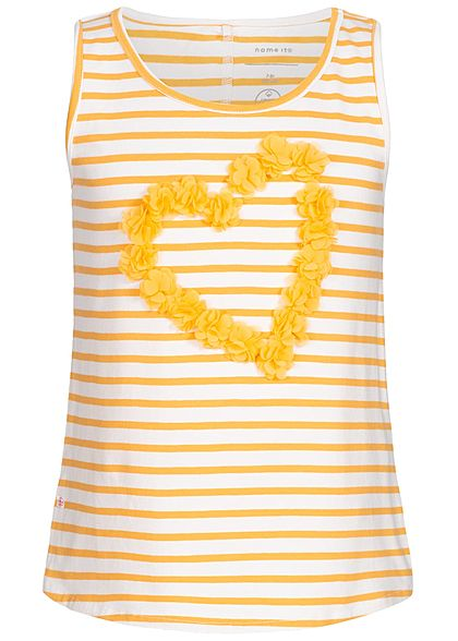 Name It Kids Mädchen Striped Tank Top Heart Flowers weiss pale marigold gelb
