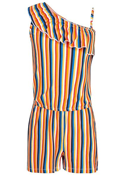 Name It Kids Mädchen Striped Strap Volant Jumpsuit pale marigold milticolor