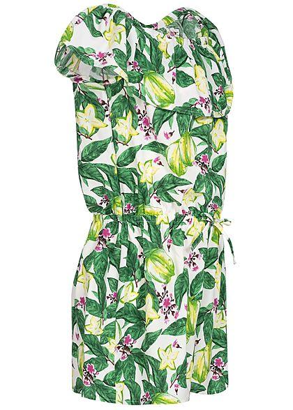 Name It Kids Mädchen Off- Shoulder Volant Jumpsuit Flower Print bright weiss grün