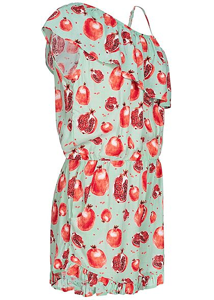 Name It Kids Mädchen Volant Jumpsuit Pomegranate Print icy morn mint grün rot