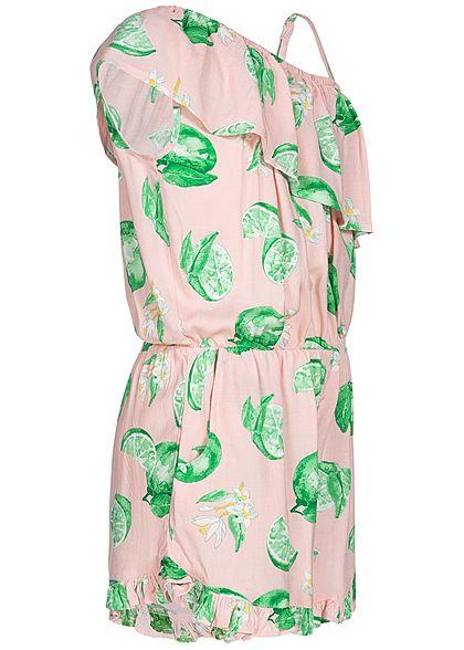 Name It Kids Mädchen Volant Jumpsuit Lime Print strawberry cream rosa grün