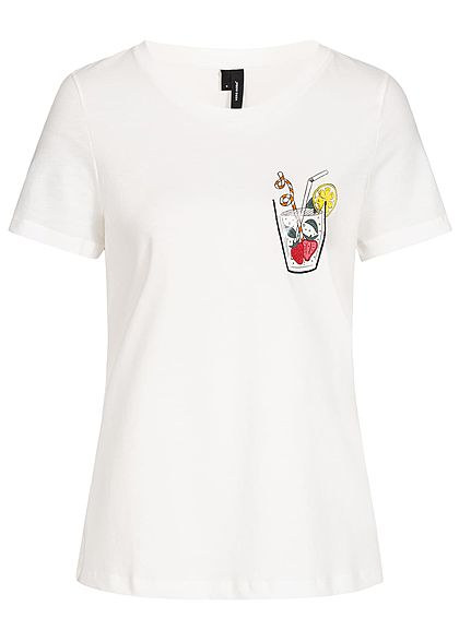Vero Moda Damen T-Shirt Drink Print snow weiss