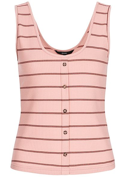 Vero Moda Damen Rib Striped Tank Top Buttons Front misty rosa