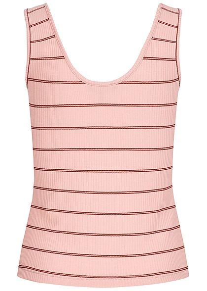 Vero Moda Damen Rib Striped Tank Top Buttons Front misty rosa