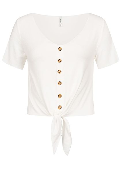 ONLY Damen Tie-Knot Rib Shirt Buttons Front cloud dancer weiss
